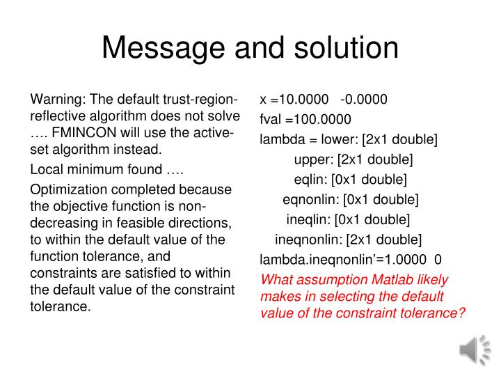 Message and solution