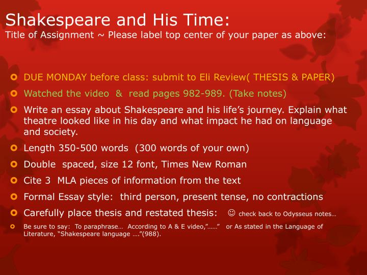 Shakespeare and His Time: