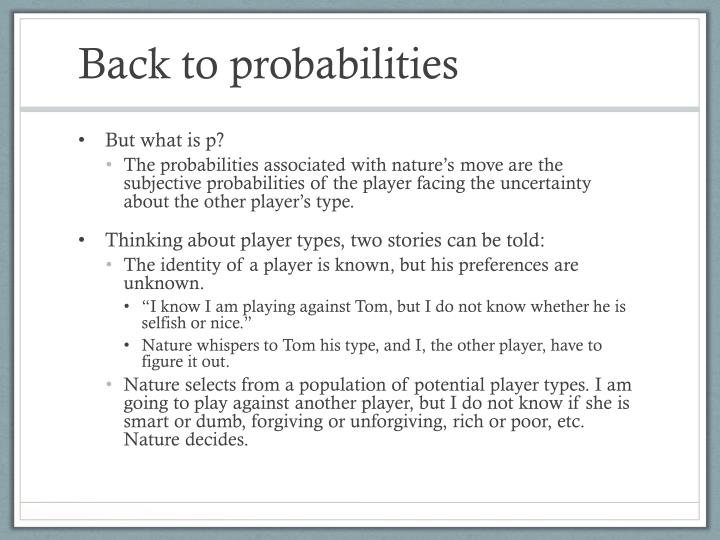 Back to probabilities