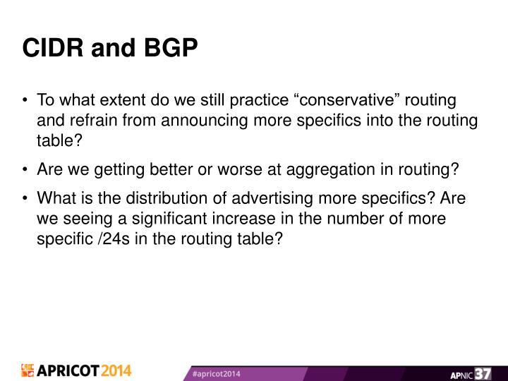 CIDR and BGP