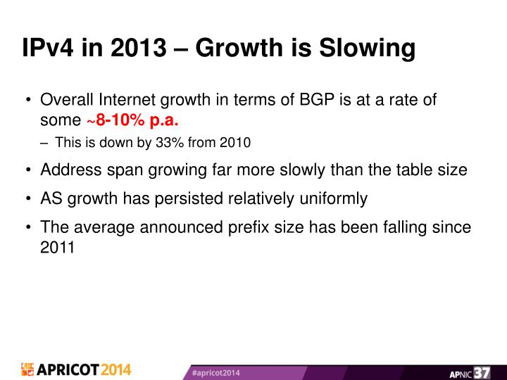 IPv4 in 2013 – Growth is Slowing