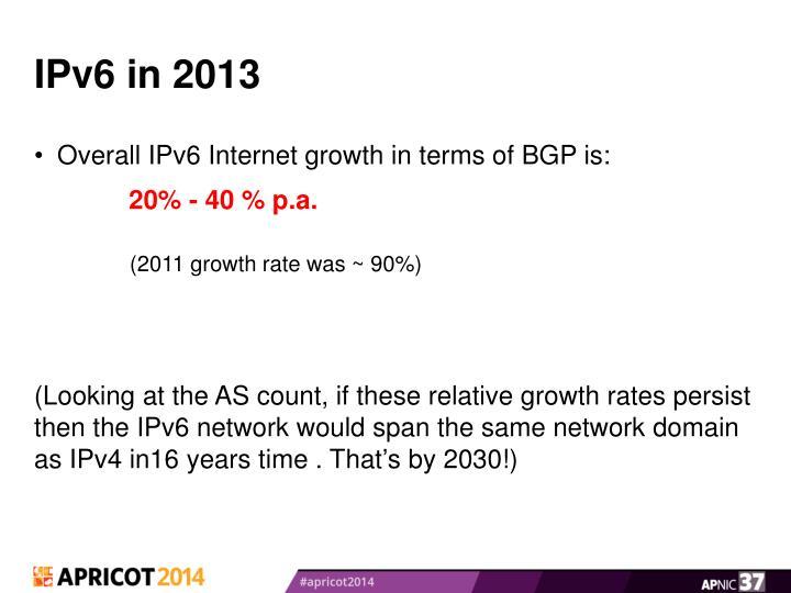 IPv6 in 2013