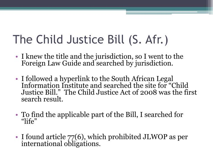 The Child Justice Bill (S. Afr.)