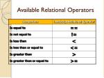 available relational operators