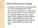 control structures looping