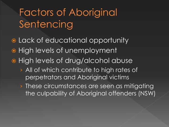 Factors of aboriginal sentencing
