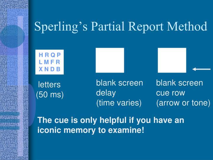 Sperling's Partial Report Method