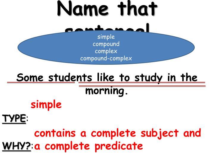 Name that sentence!