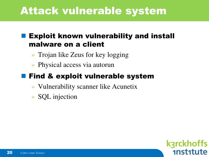 Attack vulnerable system