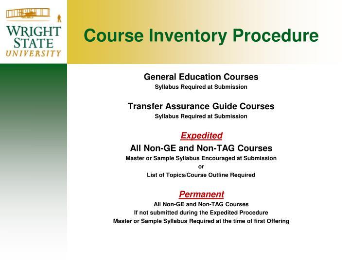 Course Inventory Procedure