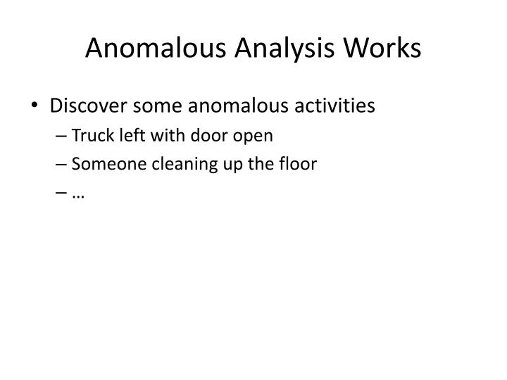 Anomalous Analysis Works