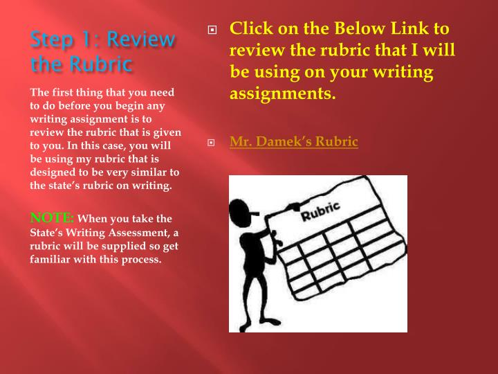 Step 1 review the rubric
