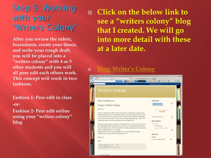 """Step 5: Working with your """"Writers Colony"""""""
