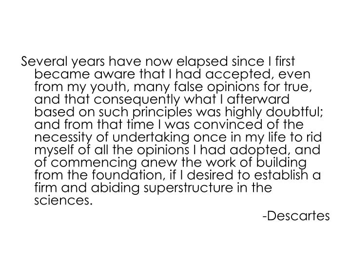 Several years have now elapsed since I first became aware that I had accepted, even from my youth, m...