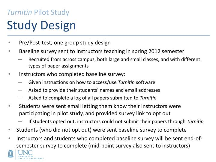Turnitin pilot study study design
