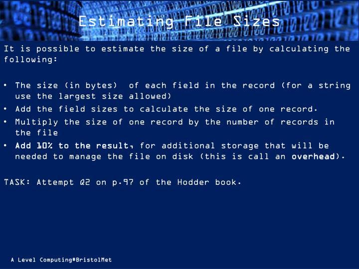 Estimating File Sizes