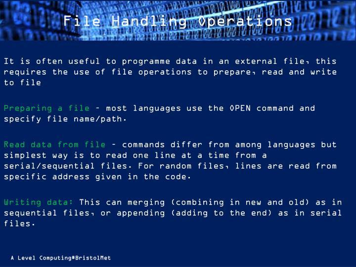File Handling Operations