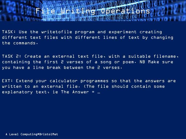 File Writing Operations