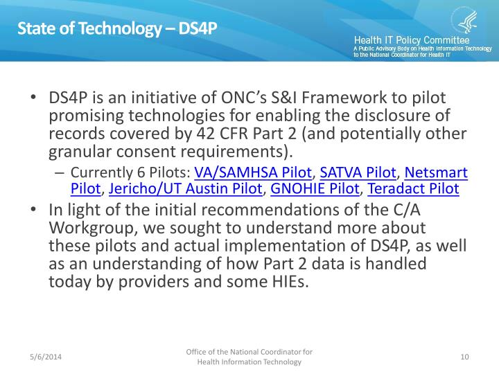 State of Technology – DS4P