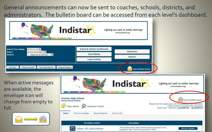 General announcements can now be sent to coaches, schools, districts, and administrators.  The bulle...