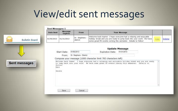 View/edit sent messages