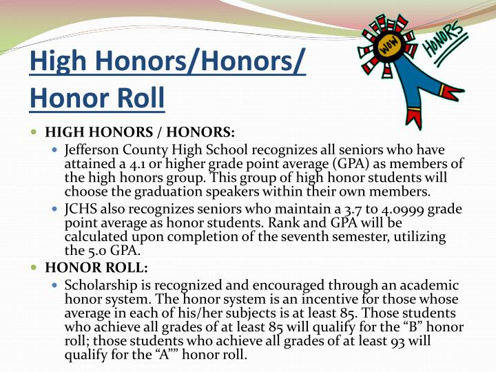 High Honors/Honors/             Honor Roll