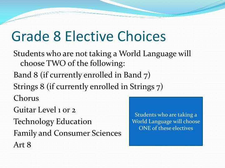 Grade 8 Elective Choices