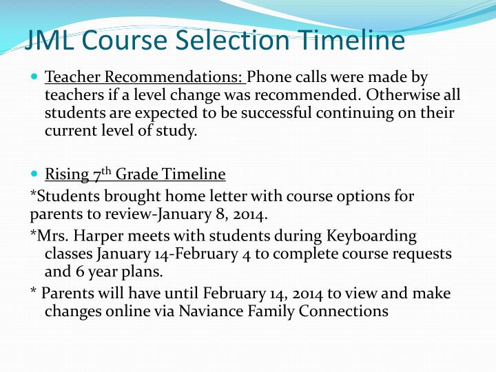 Jml course selection timeline