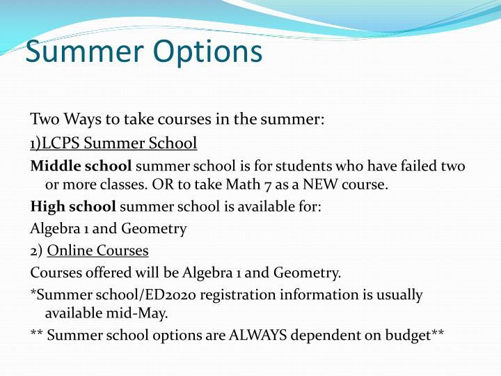 Summer Options