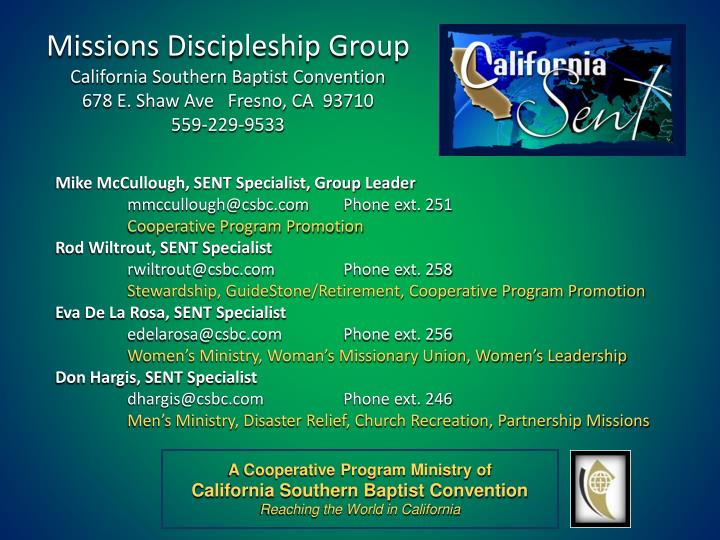 Missions Discipleship Group