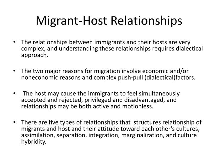 Migrant host relationships1