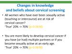 changes in knowledge and beliefs about cervical screening