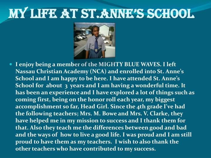 My life at St.Anne's