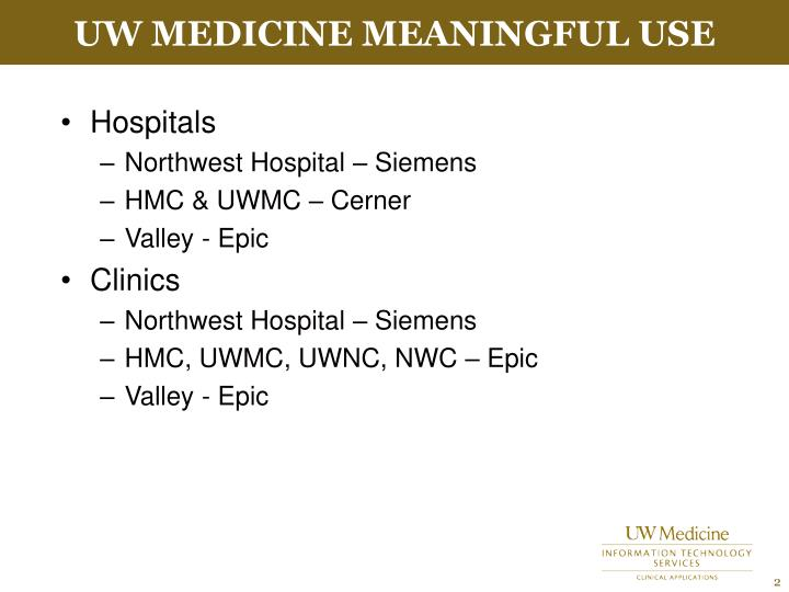 Uw medicine meaningful use