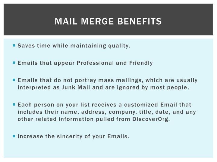 Mail merge benefits