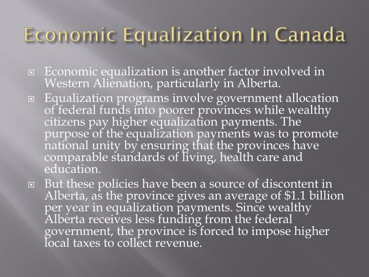 Economic Equalization In Canada