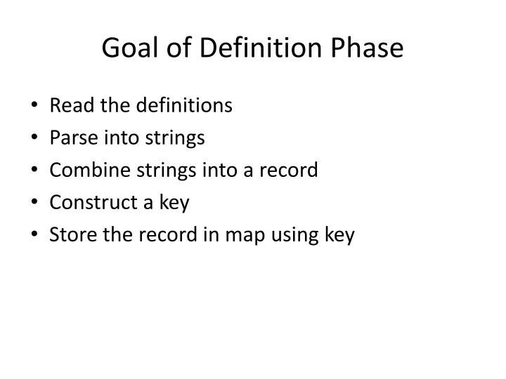 Goal of Definition Phase