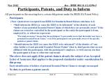 participants patents and duty to inform