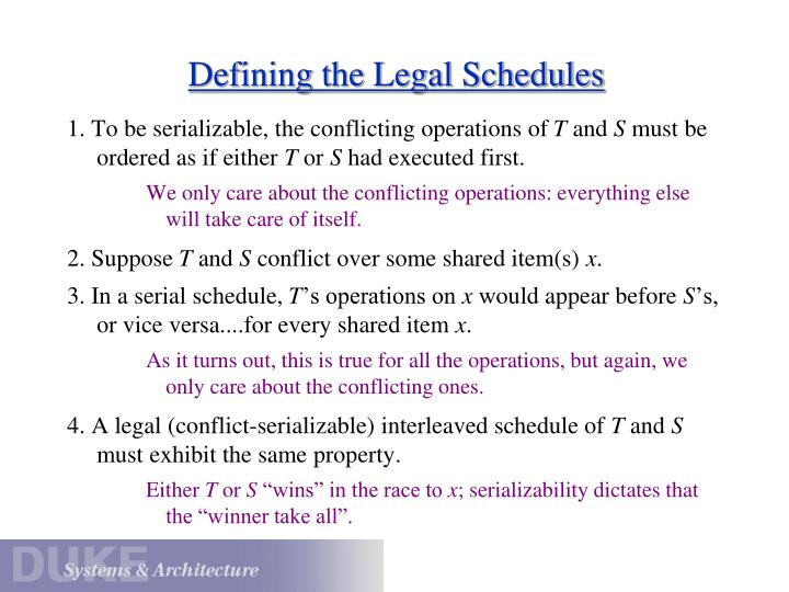 Defining the Legal Schedules