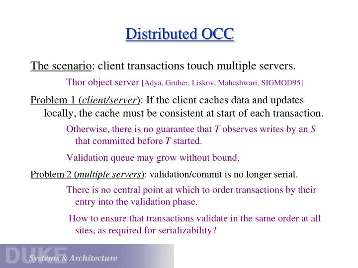 Distributed OCC
