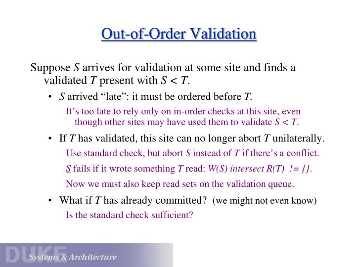 Out-of-Order Validation