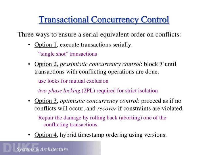 Transactional Concurrency Control