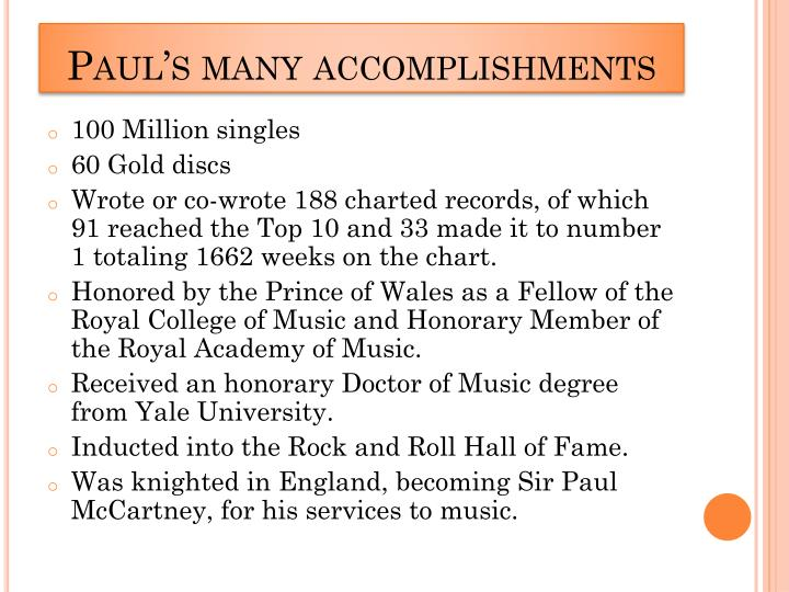 Paul's many accomplishments