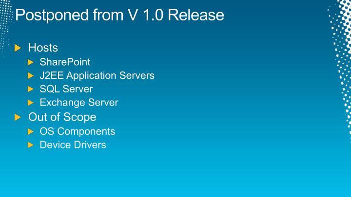 Postponed from V 1.0 Release
