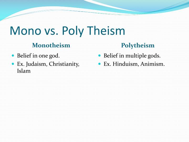 Mono vs. Poly Theism