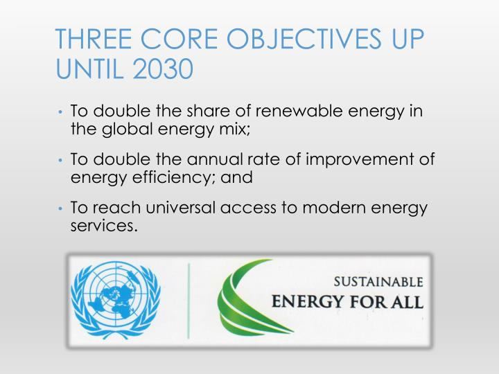 Three core objectives up until 2030
