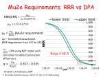 mu2e requirements rrr vs dpa