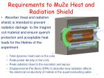 requirements to mu2e heat and radiation shield