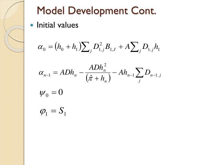 Model Development Cont.