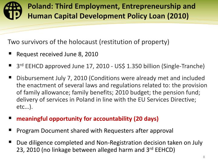 Poland: Third Employment, Entrepreneurship and Human Capital Development Policy Loan
